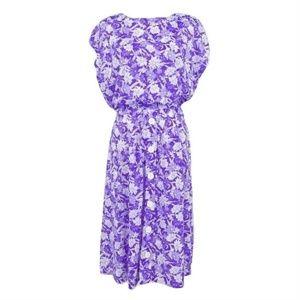 Vintage Haband Purple Floral Blouson Dress  (F18)